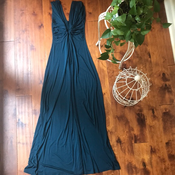 maitai Dresses & Skirts - Teal Maxi Dress with Plunging Neckline.